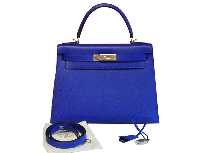 Hermès Kelly 28 Handbags Leather Blue ref.54436 d25230139f0