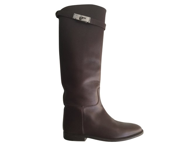 Hermès Jumping Boots Boots Leather Brown ref.54440