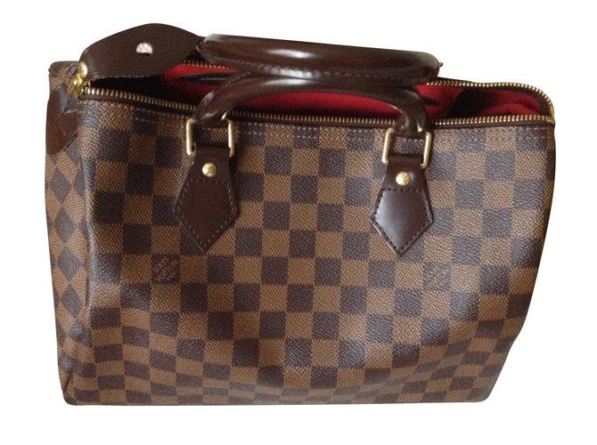9eb62e33af99 Louis Vuitton Speedy damier ébène 30 Handbags Leather Brown ref.54522