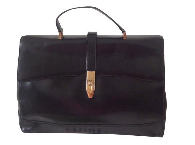 252b110d40 Céline Vintage Handbags Leather Black ref.54564 - Joli Closet
