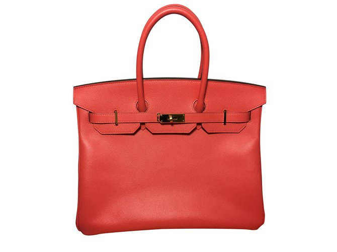 Hermès Birkin 35 pink epsom leather Handbags Leather Coral ref.54579