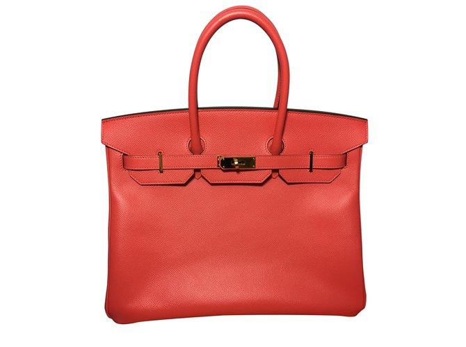 Hermès Birkin 35 rosa Epsom Leder Handtaschen Leder Koralle ref.54579