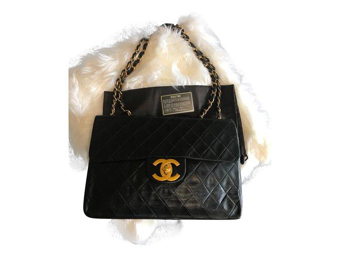 dcfe950fcdb Sacs à main Chanel Timeless Maxi Jumbo XL Cuir d agneau Noir ref.54595