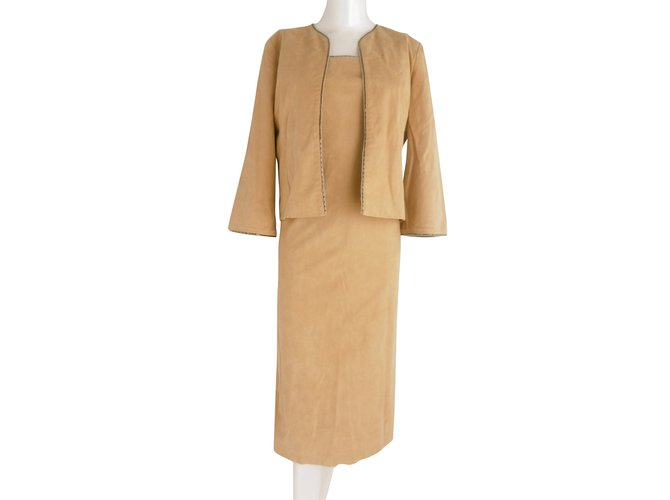 Chloé Chloe  Embellished Dress and Jacket Suit Dresses Synthetic Caramel ref.54638
