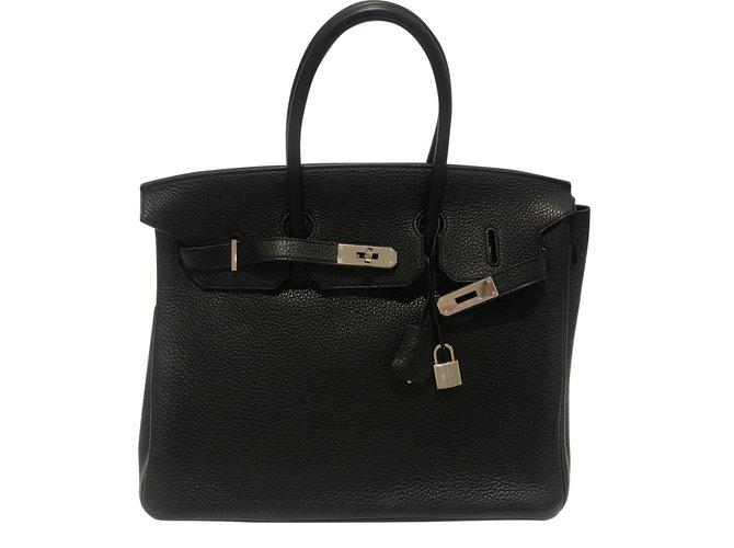 Hermès Birkin 35 Handbags Leather Black ref.54645