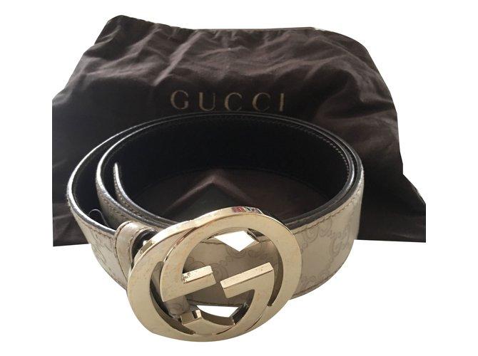 07fc926ed13 Ceintures Gucci Ceinture Gucci en cuir Cuir Beige ref.54660 - Joli ...