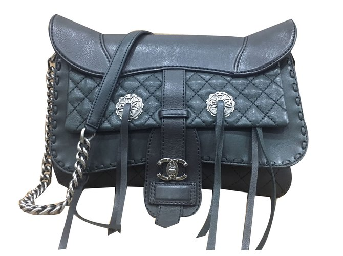 Chanel Large Cowboy Style Bag Handbags Leather Black