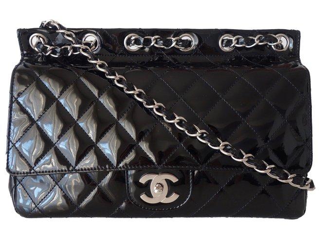 32a556080d3484 Chanel TIMELESS Handbags Patent leather Black ref.54847 - Joli Closet