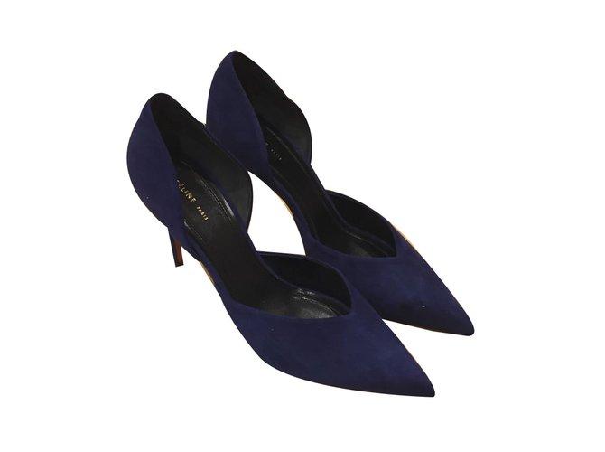 Céline Céline Heel Heels Deerskin Navy blue ref.55020