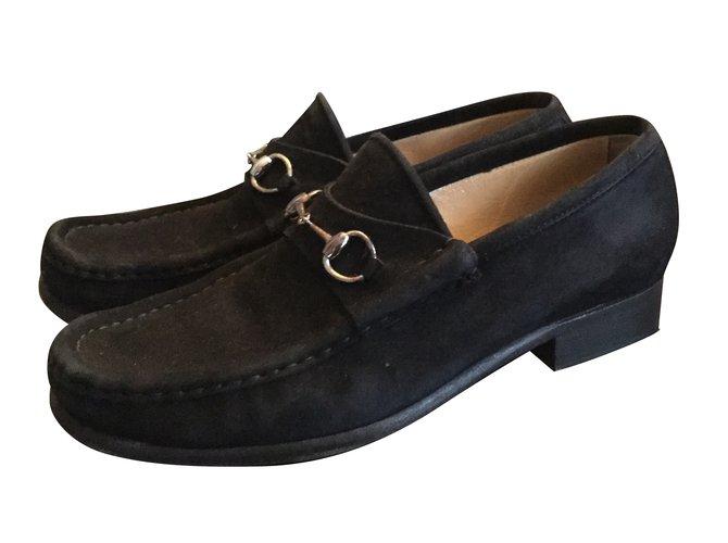b86f13bb5c88 Gucci Gucci loafers Flats Suede Black ref.55052 - Joli Closet