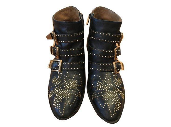 Chloé susanna Ankle Boots Leather Black ref.55188