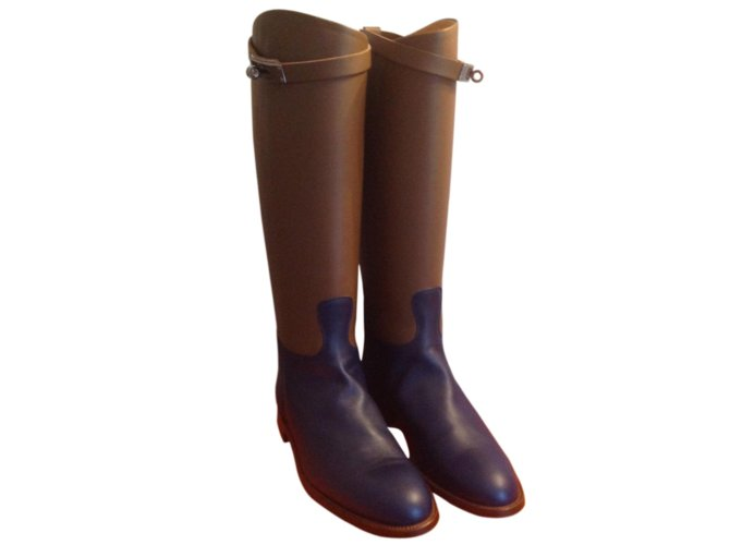 Hermès Jumping bicolor boots Boots Leather Blue,Caramel ref.55330