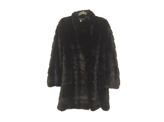 Yves Salomon Mink coat Coats, Outerwear Fur Black ref.55339