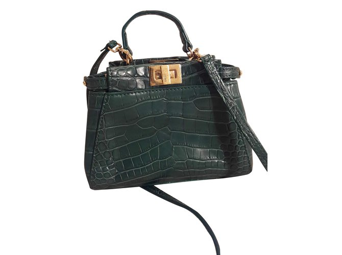 0a59f19993b3 Fendi Peekaboo crocodile micro Handbags Exotic leather Green ref.55420