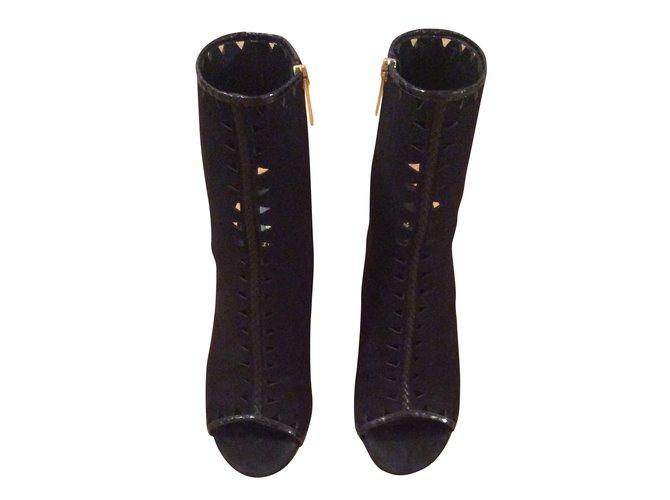 Tamara Mellon Heels Black Suede Exotic leather  ref.55454