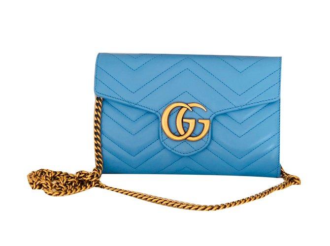9b469927a5de Gucci Marmont Chevron Chain wallet bag Handbags Leather Blue ref.55520