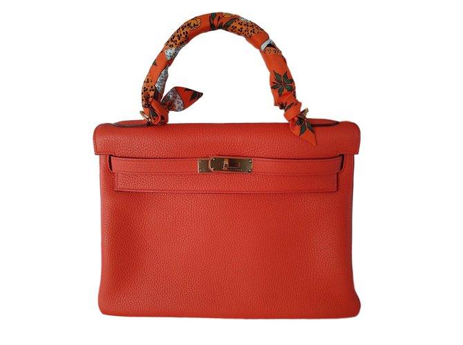 Sacs à main Hermès KELLY RETOURNE 32 ORANGE POPPY Cuir Autre ref.55688