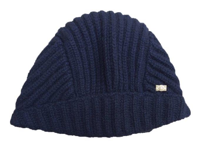 Chapeaux Chanel Bonnet Cachemire Bleu Marine ref.55722