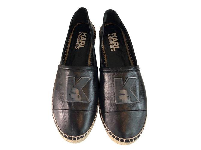 Closet Ref Noir Cuir Lagerfeld 55806 Karl Espadrilles Joli 4ral5j RLq43j5A