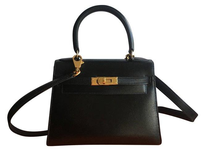 c21a93460a Sacs à main Hermès Très rare sac HERMES Kelly Mini 20 cm Box noir Cuir Noir