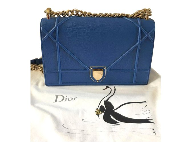 1ced84f3f940 Dior DIORAMA Handbags Leather Blue ref.55972 - Joli Closet