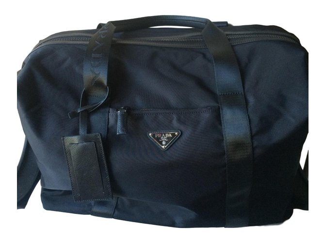 Prada Duffle Bag Bags Briefcases Nylon Black Ref 56007