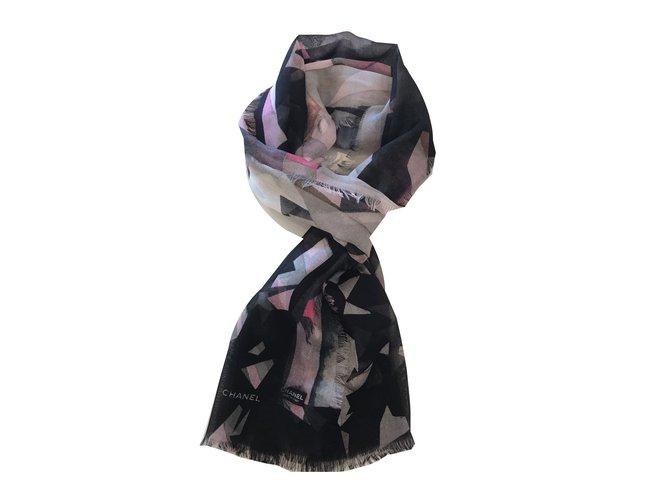 Chanel Scarves Scarves Cashmere Black ref.56019