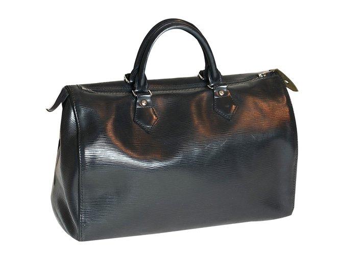 Louis Vuitton Speedy 35 épi Handbags Leather Black ref.56113 - Joli ... 45fbe0298