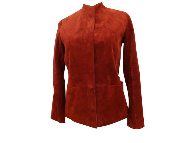 007a6f3d3f2 Vestes Hermès Veste casaque en veau Cuir Rouge ref.56137 - Joli Closet