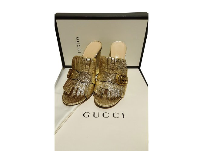 3cd634c9dec Gucci Gucci marmont Sandals Leather Golden ref.56270 - Joli Closet