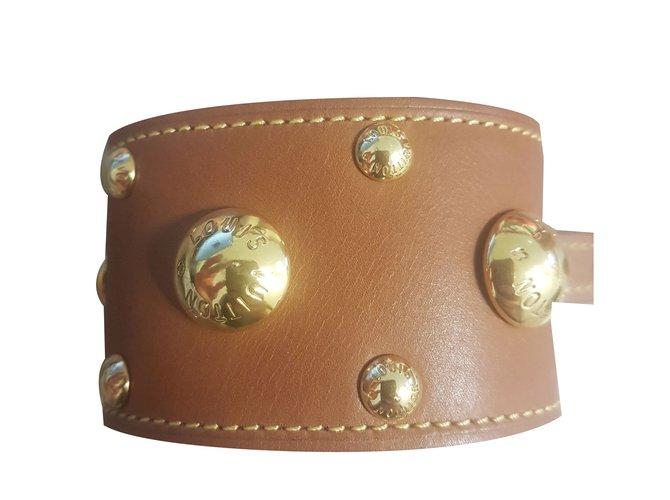 Bracelets Louis Vuitton Bracelets Cuir Caramel ref.56282