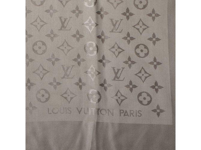 Louis Vuitton Classic Monogram Scarf Scarves Silk Beige Ref56491