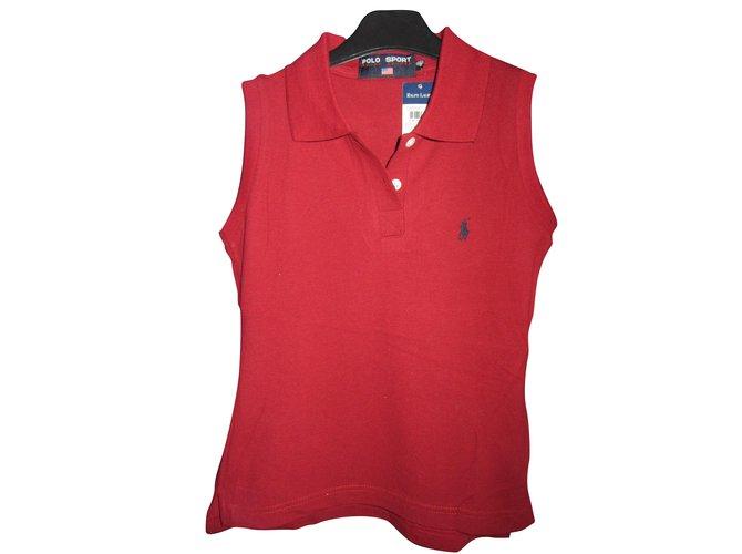 Tops Ralph Lauren Polo femme taille m Ralph Lauren neuf etiquette Coton  Bordeaux ref.56529 c242bd0b7d9