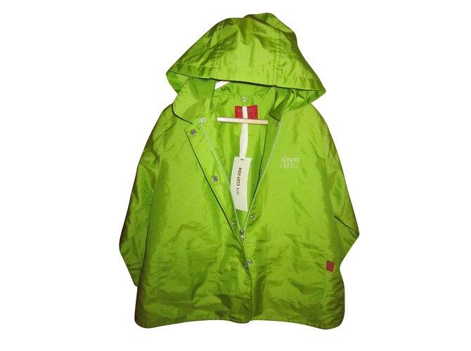 Kenzo Girl Coats outerwear Girl Coats outerwear Polyamide Green ref.56554