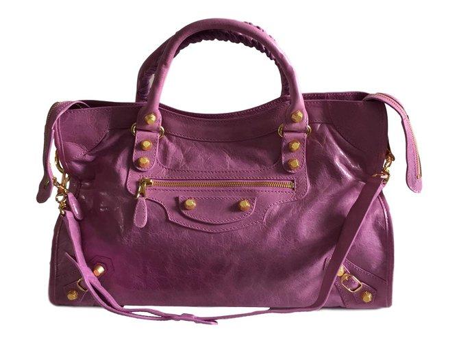 02c8c63cd8 Balenciaga City giant 12 gold Handbags Leather Pink ref.56752 - Joli ...