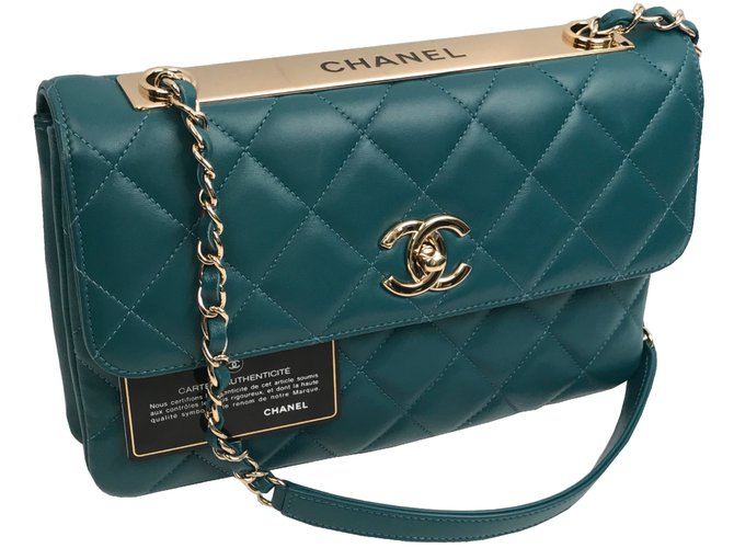 4f8ceaf1b8a232 Chanel CHANEL QUILTED LAMBSKIN TRENDY CC FLAP BAG with gold hardware.  Handbags Leather Blue ref