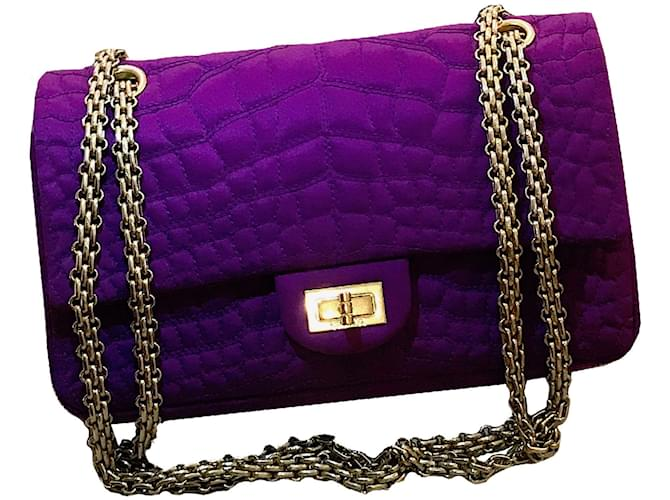 5e74a5c0fd Chanel CHANEL Medium size 2-55 Double flap bag in purple silk satin  overstitched with