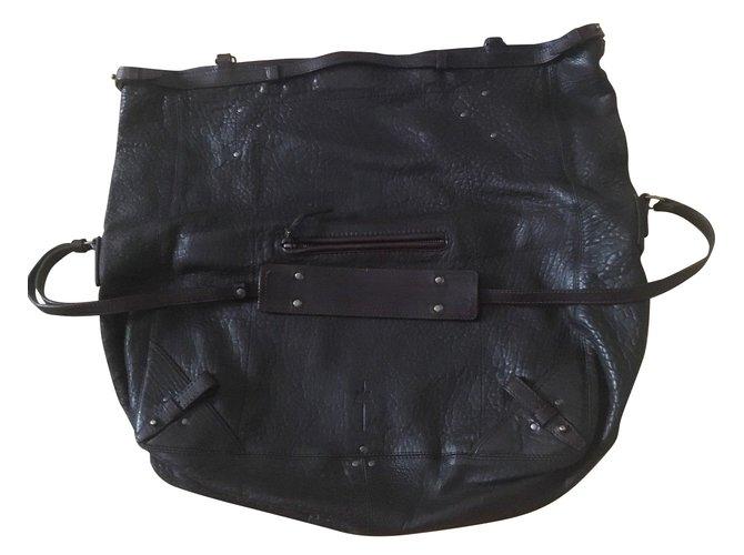 66c76404ab234 Jerome Dreyfuss FRANKY Handbags Leather Dark brown ref.56926 - Joli ...