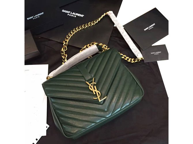 f1f8e995e9 Yves Saint Laurent YSL green college chain shoulder bag medium Handbags  Leather Green ref.57110