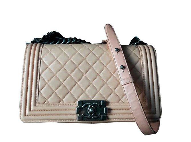 1aebbe479d85 Chanel CHANEL boy two tone limited edition medium flap bag Handbags Leather  Peach ref.57149