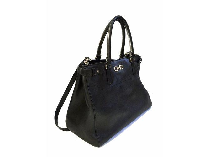 8a5b51f62f1e Salvatore Ferragamo Batik Saffiano Tote (Large) Handbags Leather Black  ref.57152