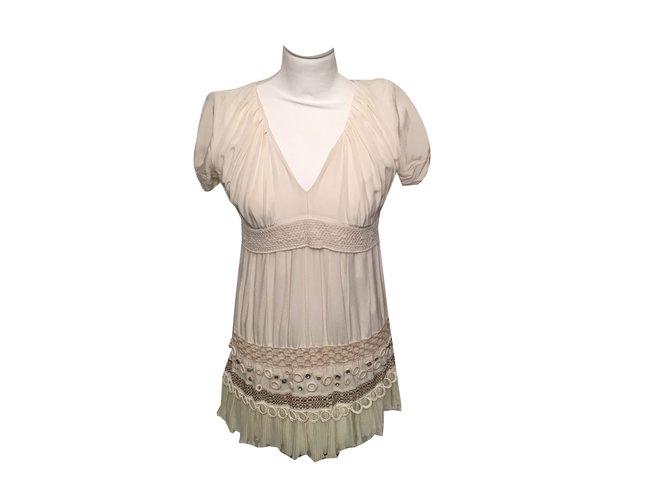 c2507483e6 Pinko Mini Dress Dresses Silk Beige ref.57283 - Joli Closet