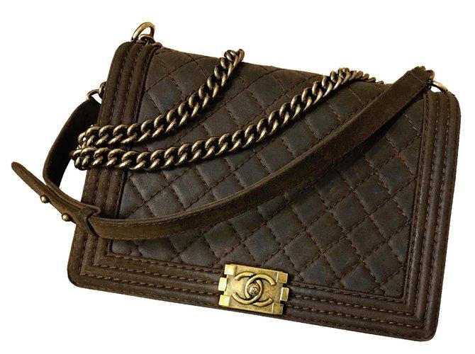 d38103c07406 Chanel Chanel Boy Large Bag Handbags Leather Brown ref.57316 - Joli ...