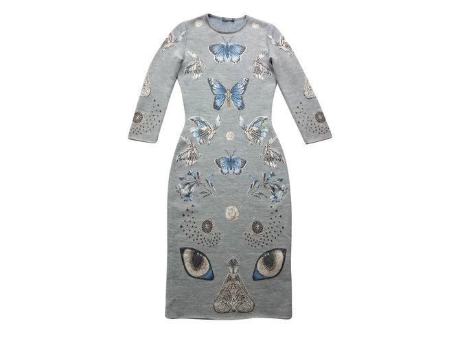 Alexander Mcqueen ALEXANDER MCQUEEN OBSESSION KNIT DRESS, Size XS Dresses Wool Grey ref.57524