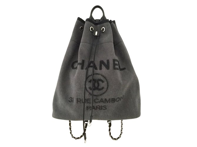 0835cdbc0f26 Chanel Deauville Backpacks Cloth Dark grey ref.57678 - Joli Closet