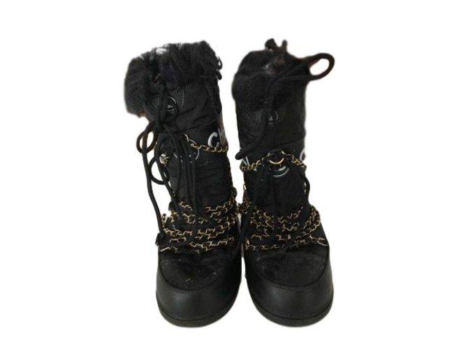 Bottes Chanel Bottes Tissu Noir ref.49928