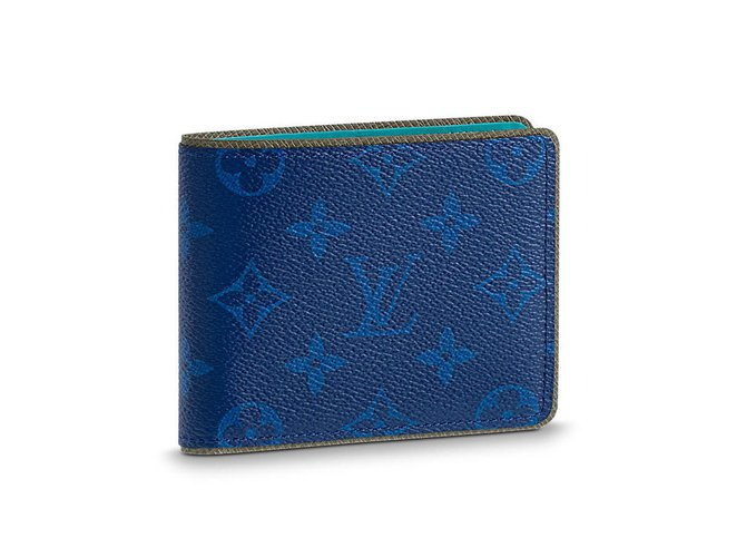 c86719ebca8a Louis Vuitton Slender mens wallet Louis Vuitton Wallets Small accessories  Leather Blue ref.57708