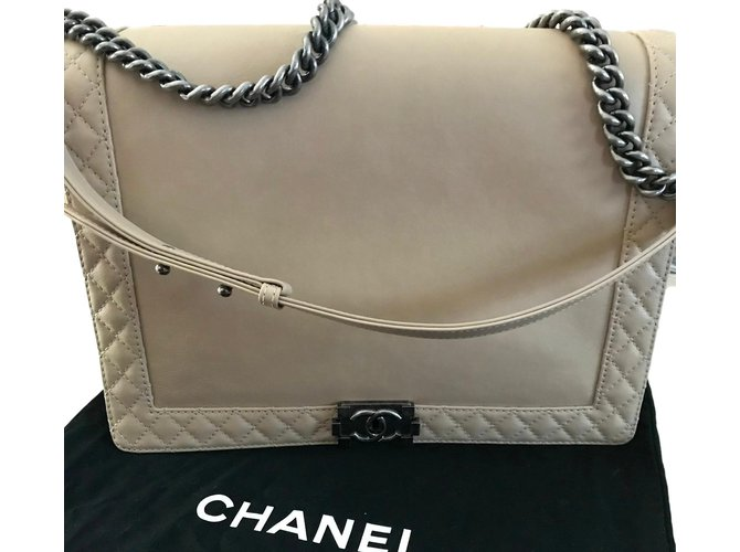 5c329da17533 Chanel Chanel Le Boy GM / XL Handbags Leather Beige ref.57770 - Joli ...