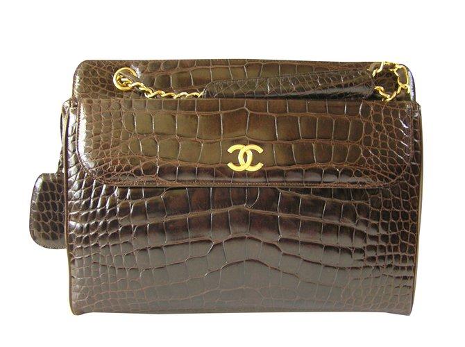 Sacs à main Chanel Sacs à main Cuirs exotiques Marron foncé ref.57799