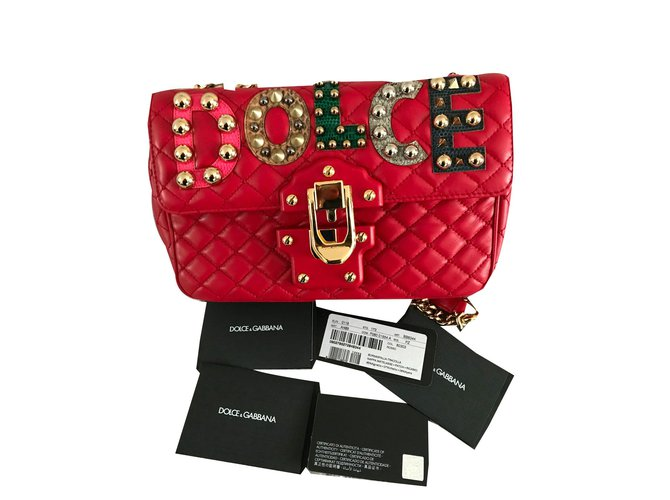 b3d91a6dea Dolce & Gabbana Dolce&Gabbana LUCIA leather shoulder bag with patch - New Handbags  Leather Red ref
